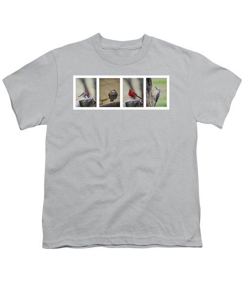 Backyard Bird Set Youth T-Shirt by Heather Applegate