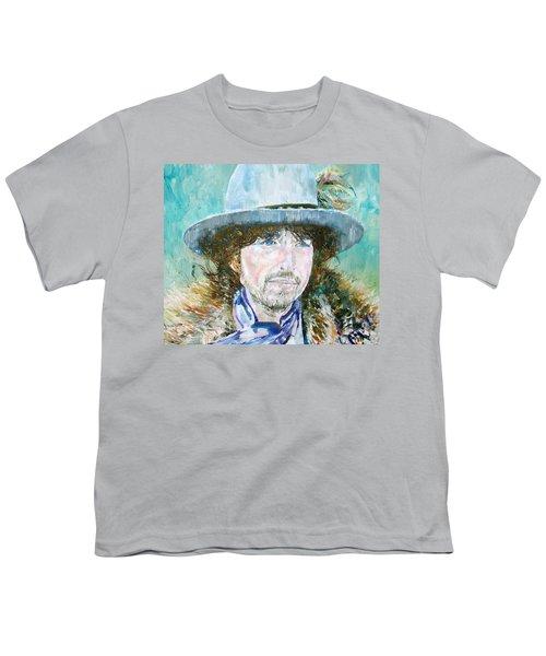 Bob Dylan Oil Portrait Youth T-Shirt by Fabrizio Cassetta