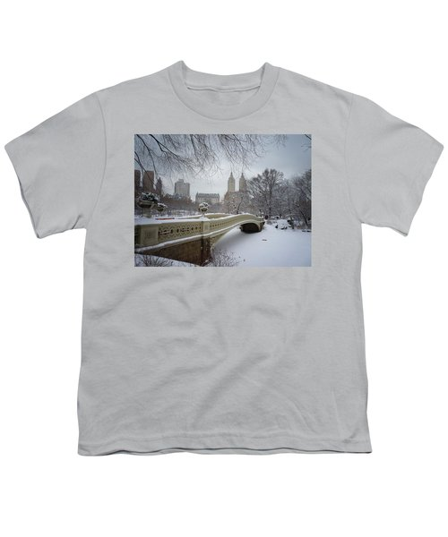 Bow Bridge Central Park In Winter  Youth T-Shirt by Vivienne Gucwa