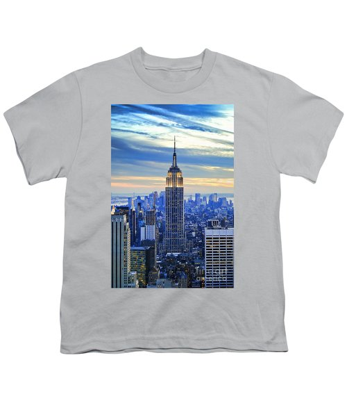 Empire State Building New York City Usa Youth T-Shirt by Sabine Jacobs