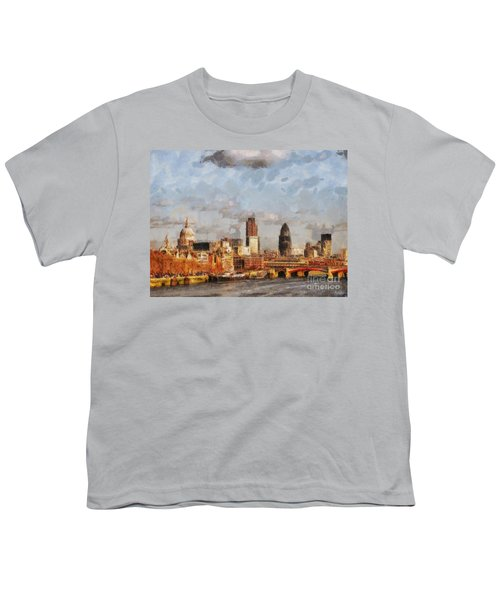 London Skyline From The River  Youth T-Shirt by Pixel Chimp