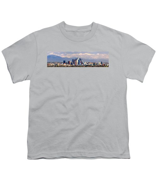 Los Angeles Skyline With Mountains In Background Youth T-Shirt by Jon Holiday