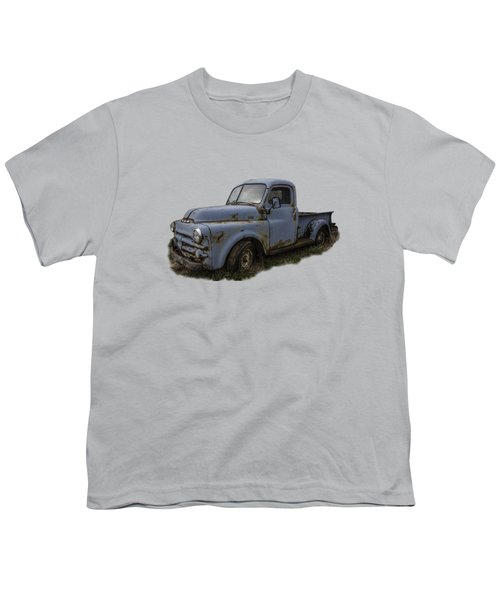 Big Blue Dodge Alone Youth T-Shirt by Debra and Dave Vanderlaan