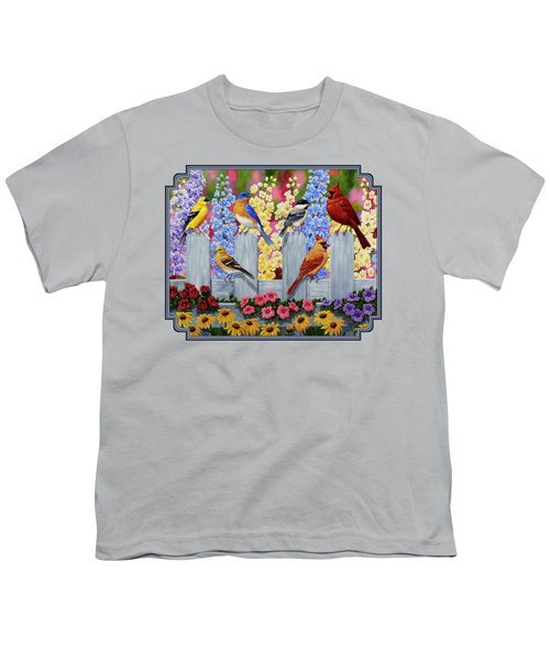 Bird Painting - Spring Garden Party Youth T-Shirt by Crista Forest