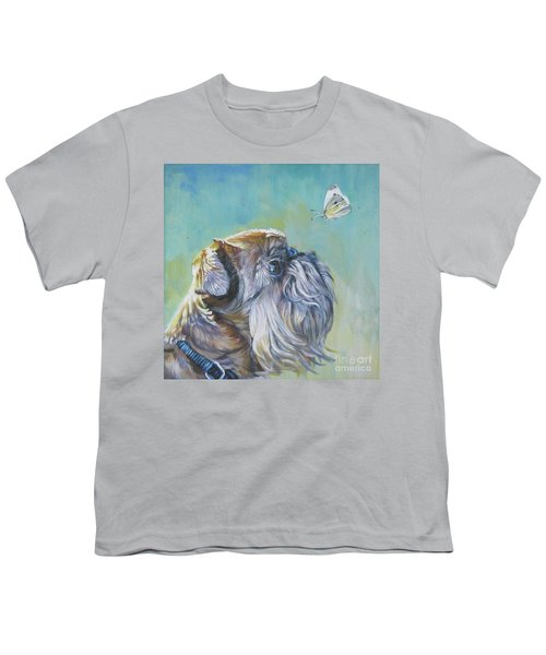Brussels Griffon With Butterfly Youth T-Shirt by Lee Ann Shepard