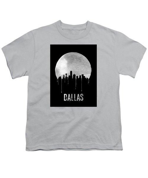Dallas Skyline Black Youth T-Shirt by Naxart Studio