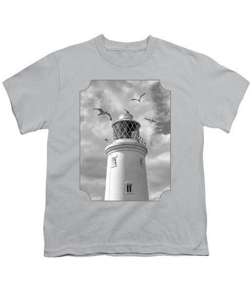 Fly Past - Seagulls Round Southwold Lighthouse In Black And White Youth T-Shirt by Gill Billington