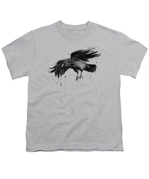 Flying Raven Watercolor Youth T-Shirt by Olga Shvartsur