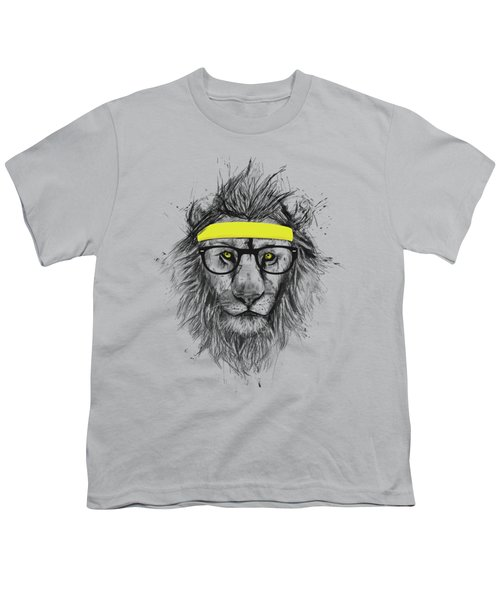 Hipster Lion Youth T-Shirt by Balazs Solti