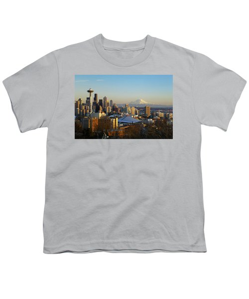 Seattle Cityscape Youth T-Shirt by Greg Vaughn - Printscapes