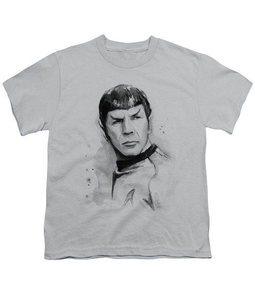 Spock Portrait Youth T-Shirt by Olga Shvartsur