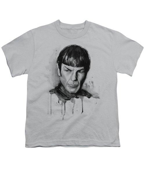 Spock Portrait Watercolor Star Trek Fan Art Youth T-Shirt by Olga Shvartsur