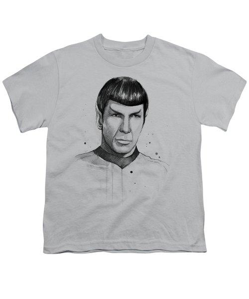 Spock Watercolor Portrait Youth T-Shirt by Olga Shvartsur