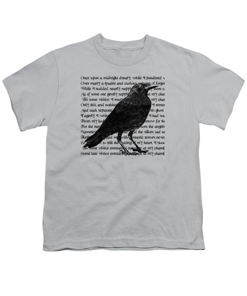 The Raven Poem Art Print Youth T-Shirt by Sandra McGinley