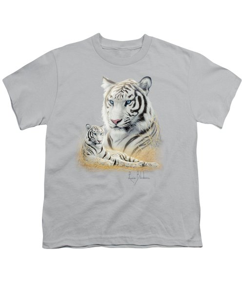 White Tiger Youth T-Shirt by Lucie Bilodeau