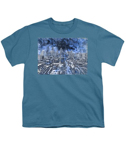 Austin Texas Abstract Panorama 5 Youth T-Shirt by Bekim Art