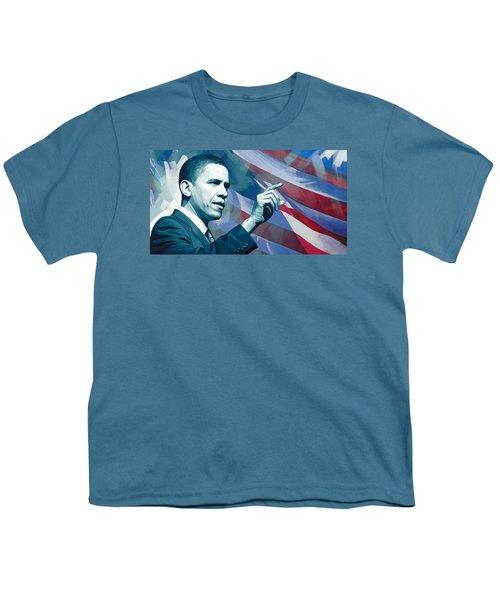 Barack Obama Artwork 2 Youth T-Shirt by Sheraz A