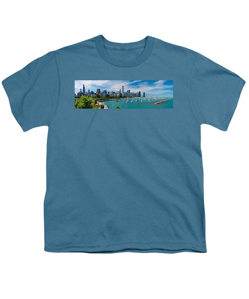 Chicago Skyline Daytime Panoramic Youth T-Shirt by Adam Romanowicz