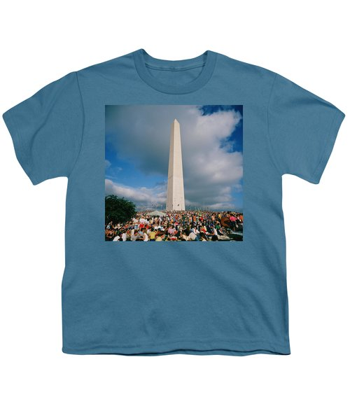 People At Washington Monument, The Youth T-Shirt by Panoramic Images