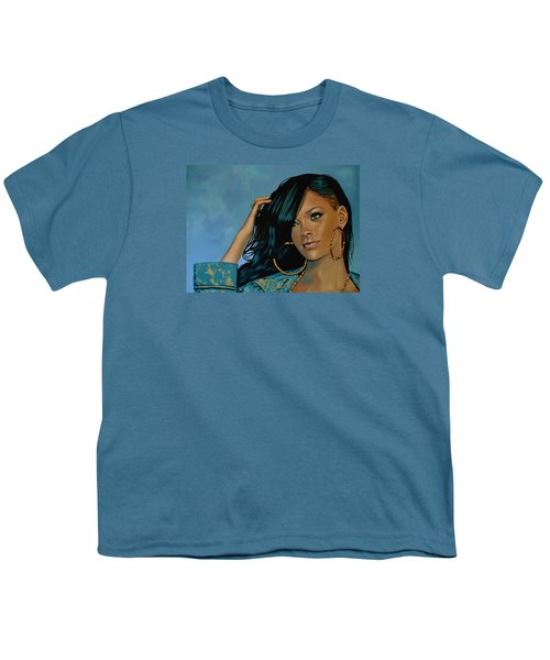 Rihanna Painting Youth T-Shirt by Paul Meijering