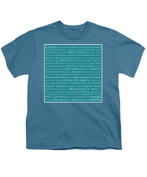 Sydney In Words Teal Youth T-Shirt by Sabine Jacobs