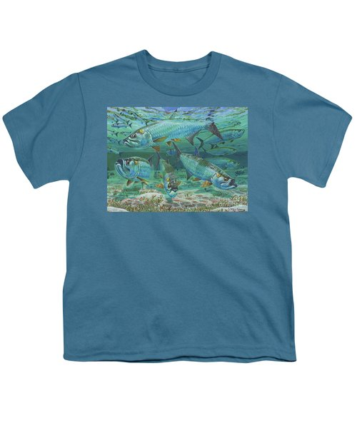 Tarpon Rolling In0025 Youth T-Shirt by Carey Chen