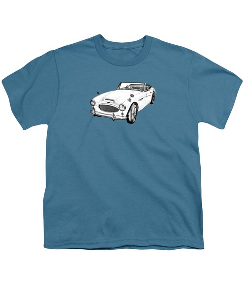 Austin Healey 300 Sports Car Drawing Youth T-Shirt by Keith Webber Jr