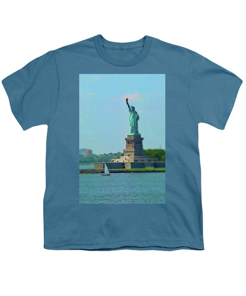 Big Statue, Little Boat Youth T-Shirt by Sandy Taylor