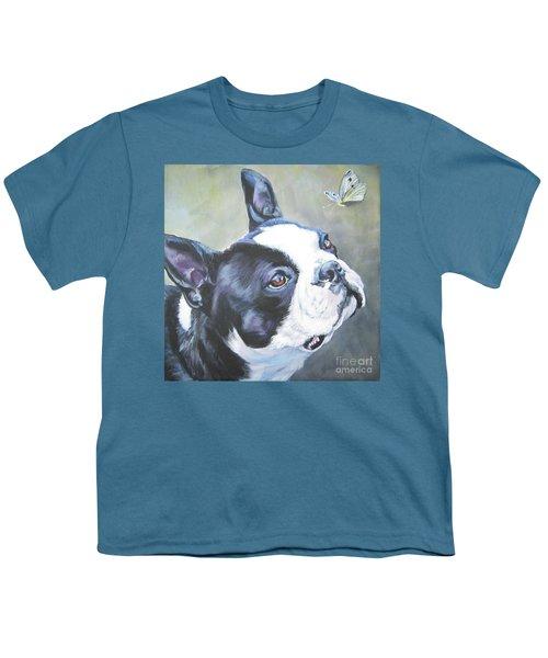 boston Terrier butterfly Youth T-Shirt by Lee Ann Shepard