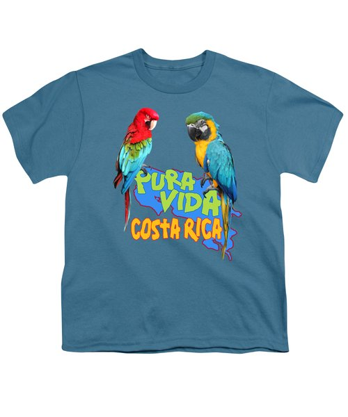 Costa Rican Macaws Youth T-Shirt by Linda Bissett