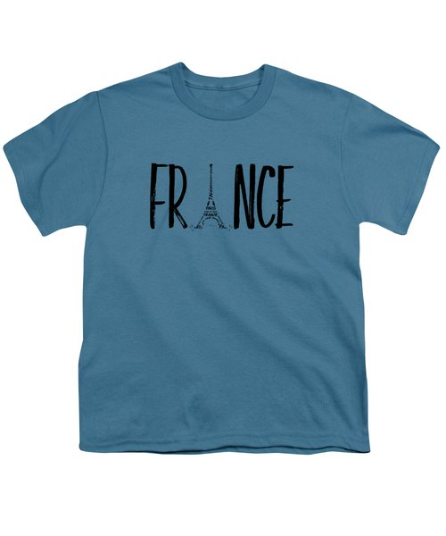 France Typography Youth T-Shirt by Melanie Viola