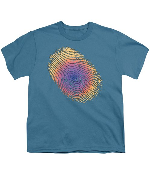 Giant Iridescent Fingerprint On Blue Knight Set Of 4 - 4 Of 4 Youth T-Shirt by Serge Averbukh