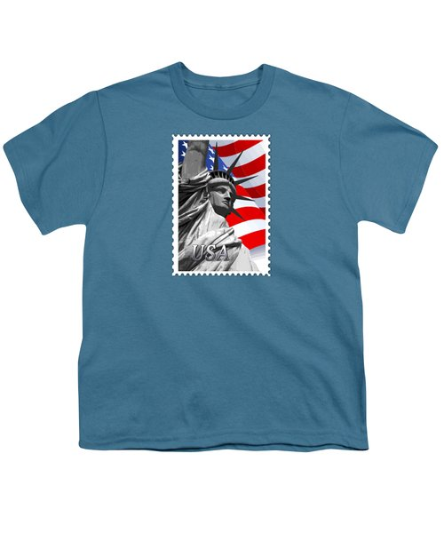 Graphic Statue Of Liberty With American Flag Text Usa Youth T-Shirt by Elaine Plesser