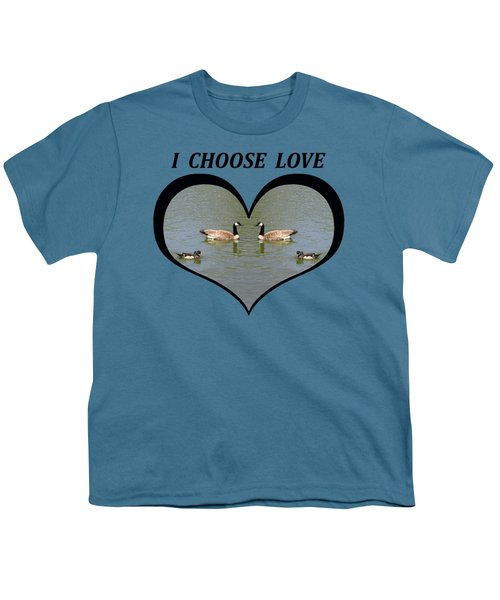 I Chose Love With A Spoonbill Duck And Geese On A Pond In A Heart Youth T-Shirt by Julia L Wright