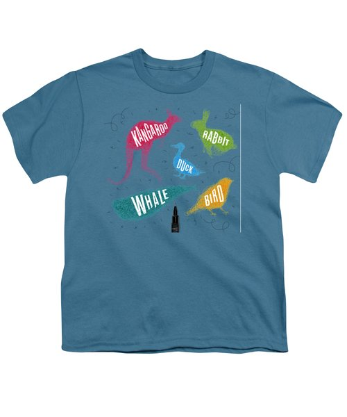 Kangaroo - Rabbit - Duck - Whale - Bird In Colors Youth T-Shirt by Aloke Design