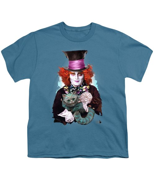 Mad Hatter And Cheshire Cat Youth T-Shirt by Melanie D