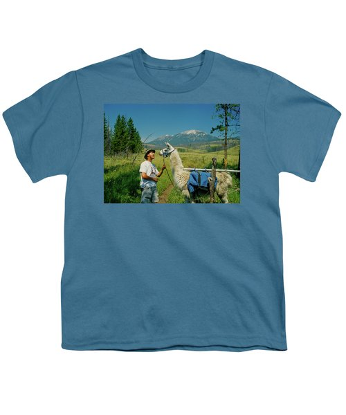 Man Teasing A Llama Youth T-Shirt by Jerry Voss