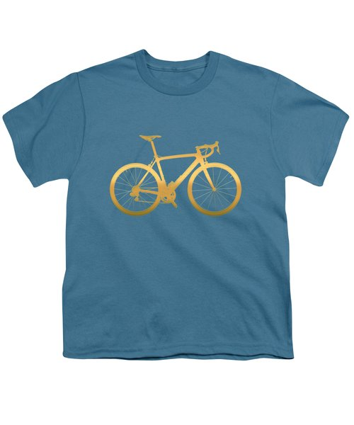 Road Bike Silhouette - Gold On Beige Canvas Youth T-Shirt by Serge Averbukh