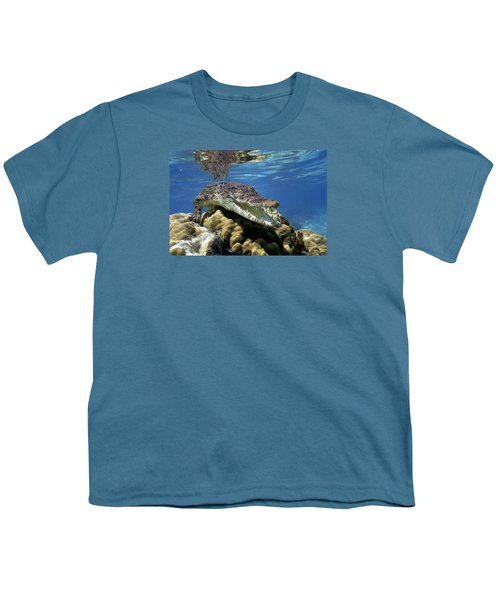 Saltwater Crocodile Smile Youth T-Shirt by Mike Parry