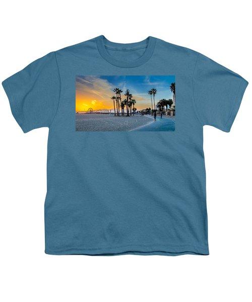 Santa Monica Sunset Youth T-Shirt by Az Jackson