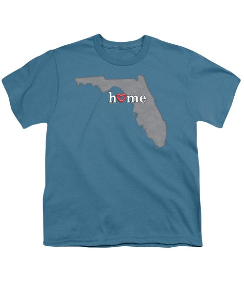 State Map Outline Florida With Heart In Home Youth T-Shirt by Elaine Plesser
