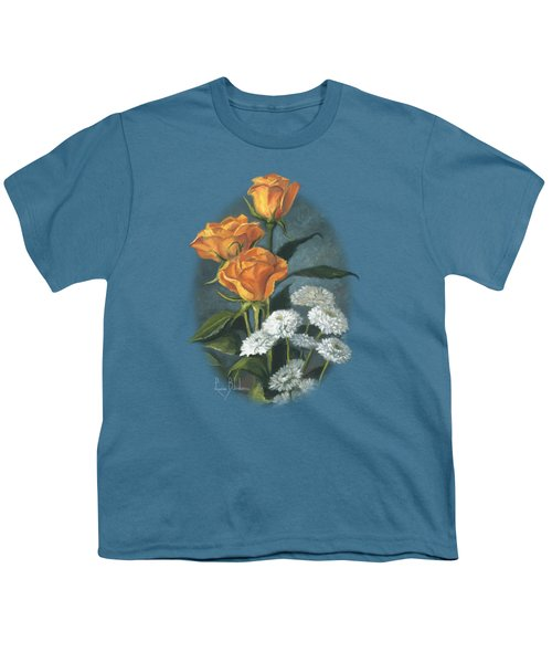 Three Roses Youth T-Shirt by Lucie Bilodeau