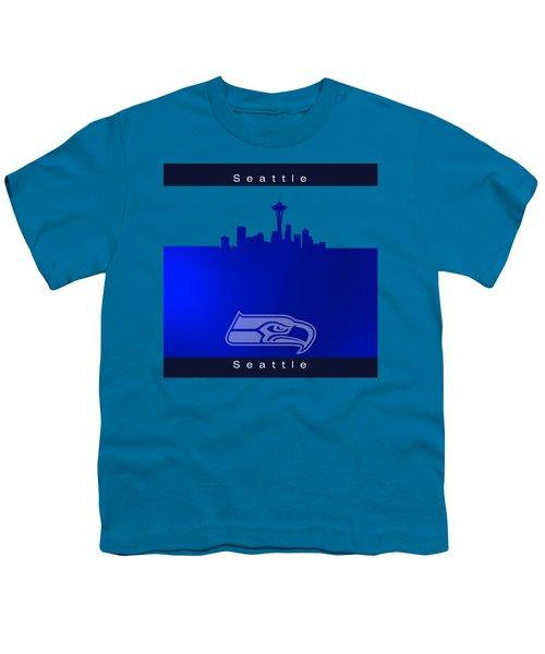Seattle Seahawks Skyline Youth T-Shirt by Alberto RuiZ