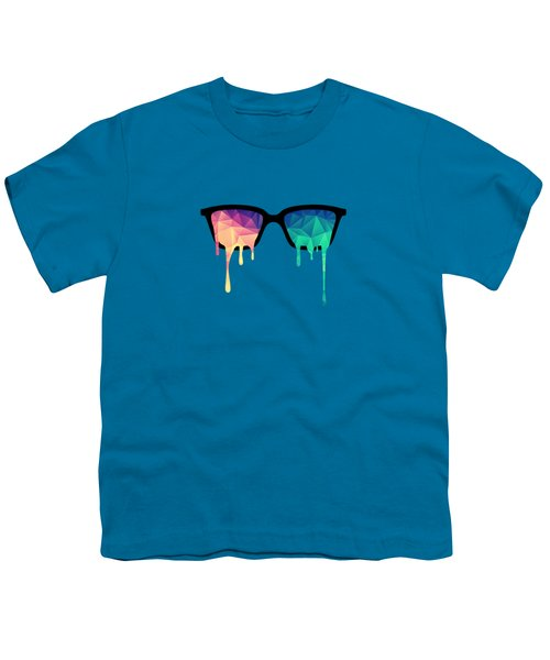 Psychedelic Nerd Glasses With Melting Lsd Trippy Color Triangles Youth T-Shirt by Philipp Rietz