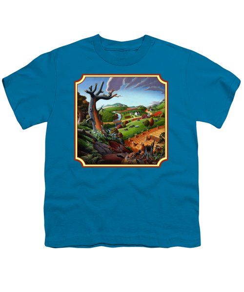 Autumn Wheat Harvest Country Farm Life Landscape - Square Format Youth T-Shirt by Walt Curlee