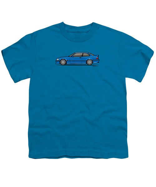 Bmw 3 Series E36 M3 Coupe Estoril Blue Youth T-Shirt by Monkey Crisis On Mars