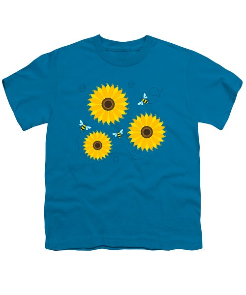 Busy Bees And Sunflowers - Large Youth T-Shirt by Shara Lee
