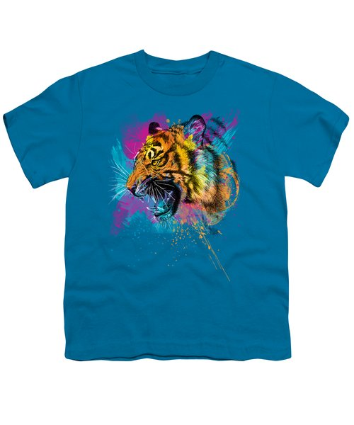 Crazy Tiger Youth T-Shirt by Olga Shvartsur