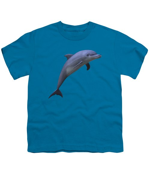 Dolphin In Ocean Blue Youth T-Shirt by Movie Poster Prints