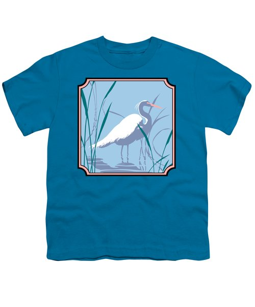 Egret Tropical Abstract - Square Format Youth T-Shirt by Walt Curlee